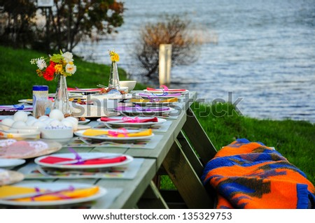 picnic in spring - stock photo