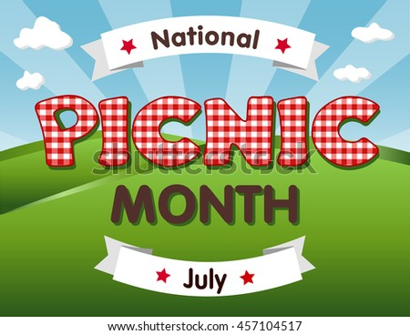 Picnic Month, national USA holiday in July celebrates the love of being outside and having a nice relaxing meal together with family and friends, red gingham checks text, blue sky background. - stock photo
