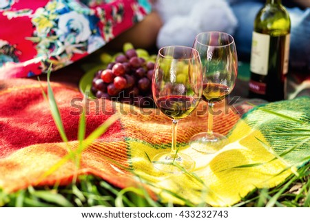 picnic on the grass, picnic, wine, glasses, bottle of wine, grapes, a young couple sitting on a plaid, sunny summer, romantic mood - stock photo