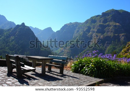 Picnic place in Madeira - stock photo