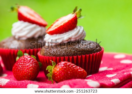 Picnic treat of coconut chocolate cupcakes with strawberries - stock photo