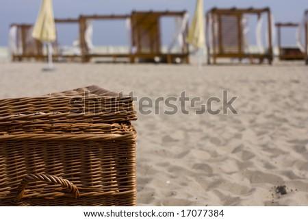 picnik basket - stock photo