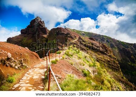 Pico do Arieiro is the third highest peak of Madeira, Portugal - stock photo