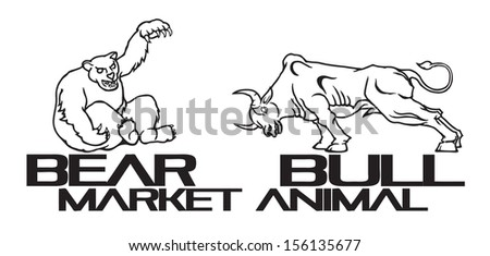 Pictogram of a Bear and a Bull for the concept of Financial Stock Market.  - stock photo