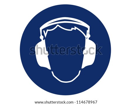 pictogram of ear protection - stock photo
