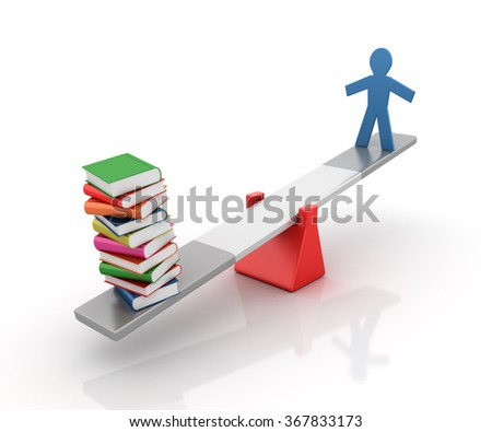 Pictogram People and Books Balancing on a Seesaw - Balance Concept - High Quality 3D Render  - stock photo