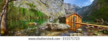 pictorial Alpine nature, Konigsee lake, Bavaria - stock photo