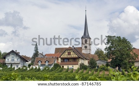 pictorial detail of Mittelbergheim, a village of a region in France named Alsace - stock photo