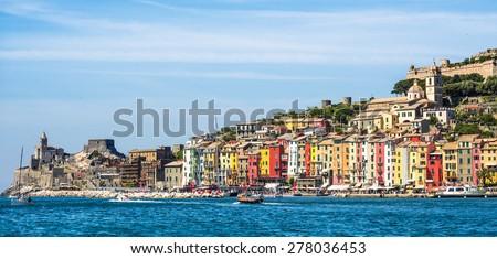 pictorial Liguria - View of Portovenere, Cinque terre, Italy - stock photo