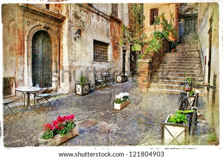 pictorial old streets of Italy,Rome. artistic picture in retro style - stock photo