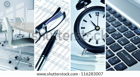 Picture collage of office life and contemporary business - stock photo