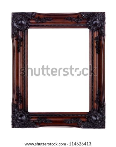 Picture frame isolated on white made from mahogany wood - stock photo