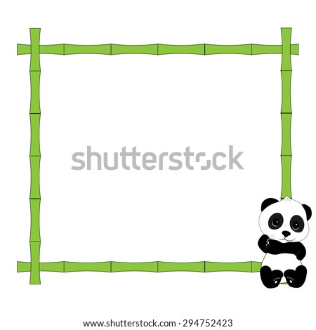 Picture frame made of bamboo.He is sitting in the corner of the frame a little panda - stock photo