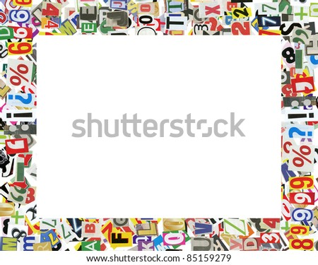 Picture frame, made of newspaper letters, numbers and punctuation marks, isolated on white - stock photo