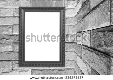 picture frame on brick wall.On the corner - stock photo