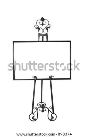 Picture Frame on Easel With Copy Space - stock photo