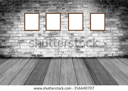 picture frame on grunge background, red brick wall texture bright plaster wall and blocks road sidewalk abandoned exterior urban background for your concept or project - stock photo