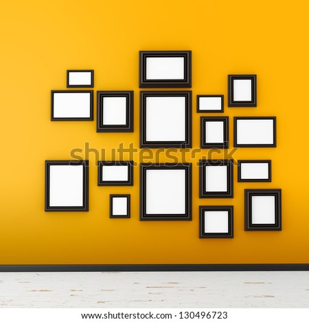 picture frame on yellow wall - stock photo