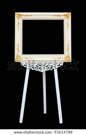 picture frame with wooden easel - stock photo