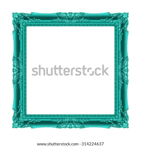 picture frame Wood carved Old isolated on a background white - stock photo