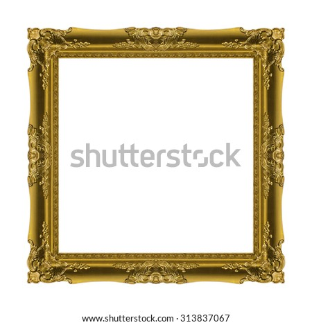 picture frame Wood carved Old isolated on a white background - stock photo