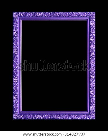 picture frame wooden Carved pattern isolated on a black background. - stock photo