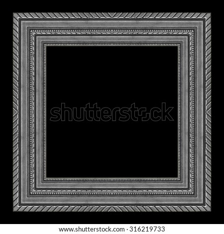 picture frame wooden silver Carved pattern isolated on a black background. - stock photo