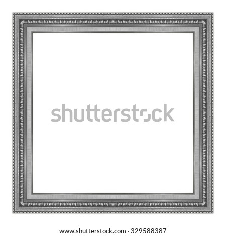 picture frame wooden  silver Carved pattern isolated on a white background. - stock photo