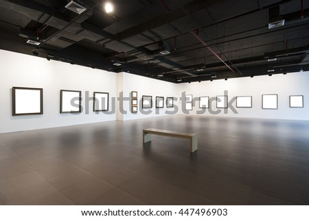 picture frames in gallery - stock photo
