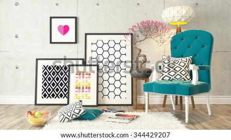 picture frames with blue bergere and concrete wall decor, background, template design 3D rendering - stock photo