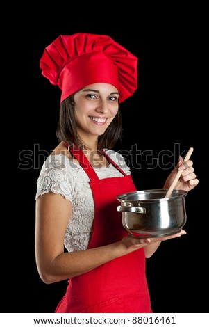 Picture from a young housewife in the kitchen - stock photo