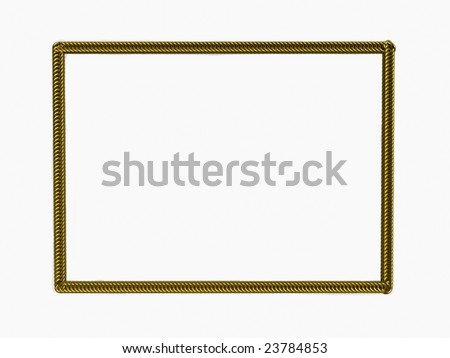 Picture gold frame with a decorative pattern - stock photo