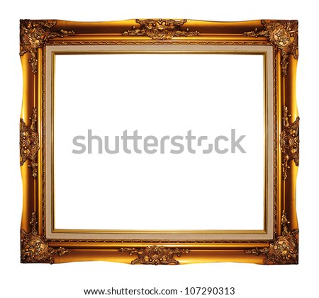 Picture gold frame with a decorative pattern on white - stock photo