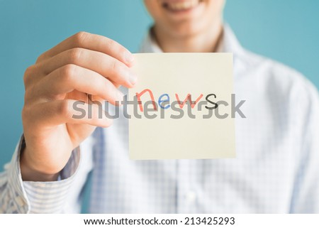 Picture icon in the hand news - stock photo