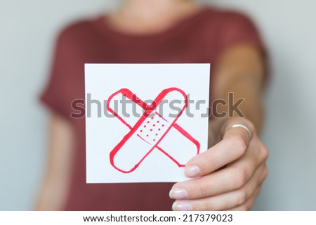 Picture icon in the hands of patch - stock photo