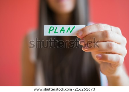 Picture icon plan in hand - stock photo