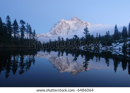 picture lake and mount shuksan in twilight - stock photo