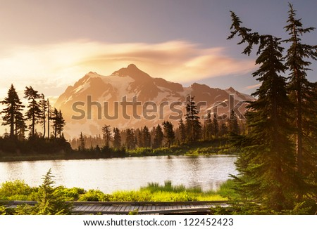 Picture Lake and Mount Shuksan,Washington - stock photo