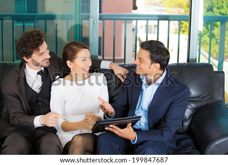 Picture manager, financial consultant, businessman banker presenting to young smiling married couple, business investment opportunity plan, isolated background city buildings. Finance smart decisions. - stock photo