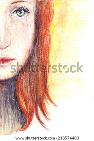 Picture of a beautiful redhead sad girl - stock photo