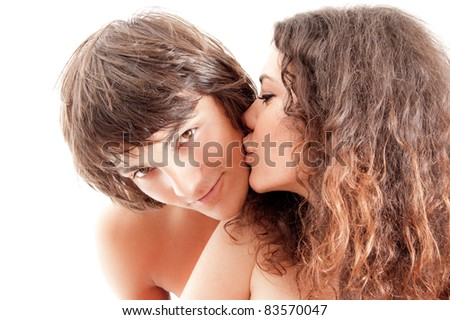 picture of a beautiful young couple, isolated on white - stock photo