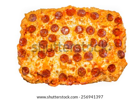 Picture of a big homemade pepperoni pizza - stock photo