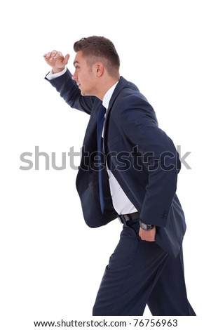 picture of a businessman looking forward to the future over white - stock photo