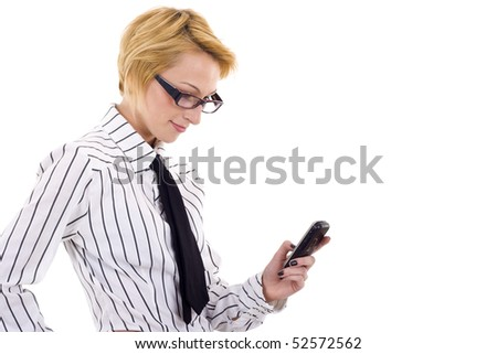 picture of a businesswoman texting message on the phone - stock photo