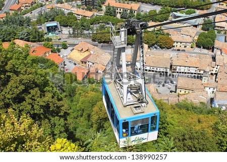 Picture of a cable car in San Marino - stock photo