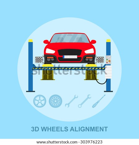 picture of a car with computerized alignment device at wheel, alignment service station, flat style illustration - stock photo