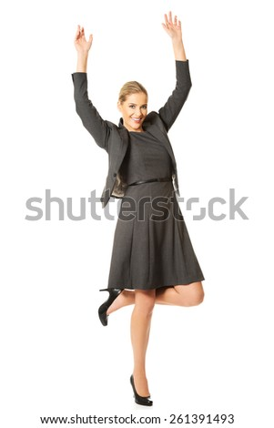 Picture of a cheerful businesswoman - stock photo