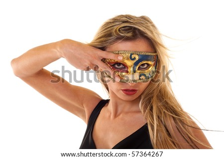 picture of a elegant girl wearing  a vintage mask over white - stock photo