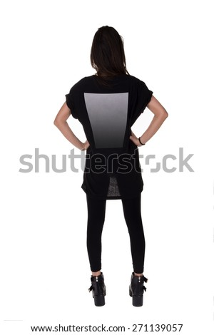 Picture of a female figure viewed from behind. Isolated on white background - stock photo