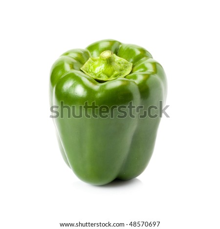 picture of a green pepper isolated on white - stock photo